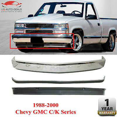 Front Bumper Chrome w/ Molding + Lower Valance For 1988 - 2000 Chevy GMC C / k
