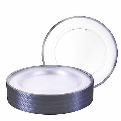 Heavy Plastic Dinner Plates (Premium Heavy weight 10.25 Clear Round Dinner Plastic Plates With Silver Rim)