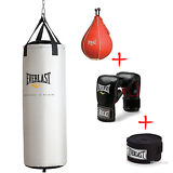 70 lbs Heavy Bag Kit Hand Wraps MMA Boxing Gloves Punching Training Equipment