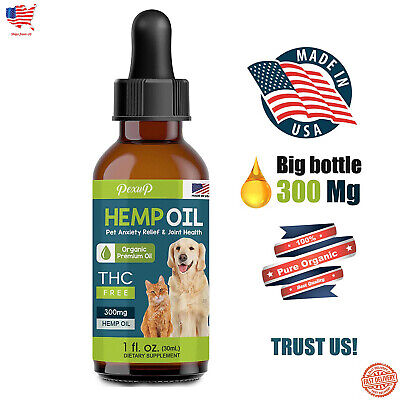Hemp Oil For Dogs And Cats - 100% Organic Treat Food Supplement Non-GMO USA Made