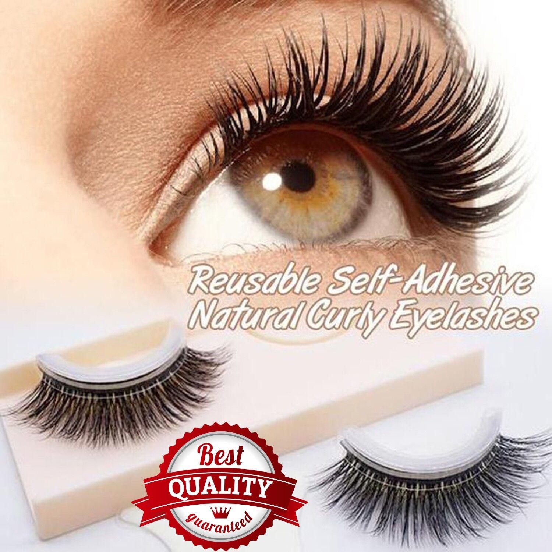 3d Mink Reusable Self Adhesive Natural Curly False Eyelashes