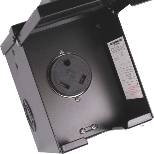 RV Power Outlet Box 30 Amp Enclosed NEMA TT-30R 120-125 Volt WEATHERPROOF BLACK