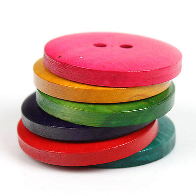50 Large Mixed Color Wooden Buttons   30Mm  1 1 8 Inch    2 Hole    23789