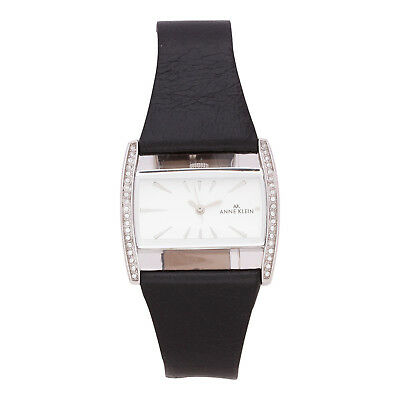 New Anne Klein 10-6911INST Women's Quartz Black Leather Band Authentic Watch