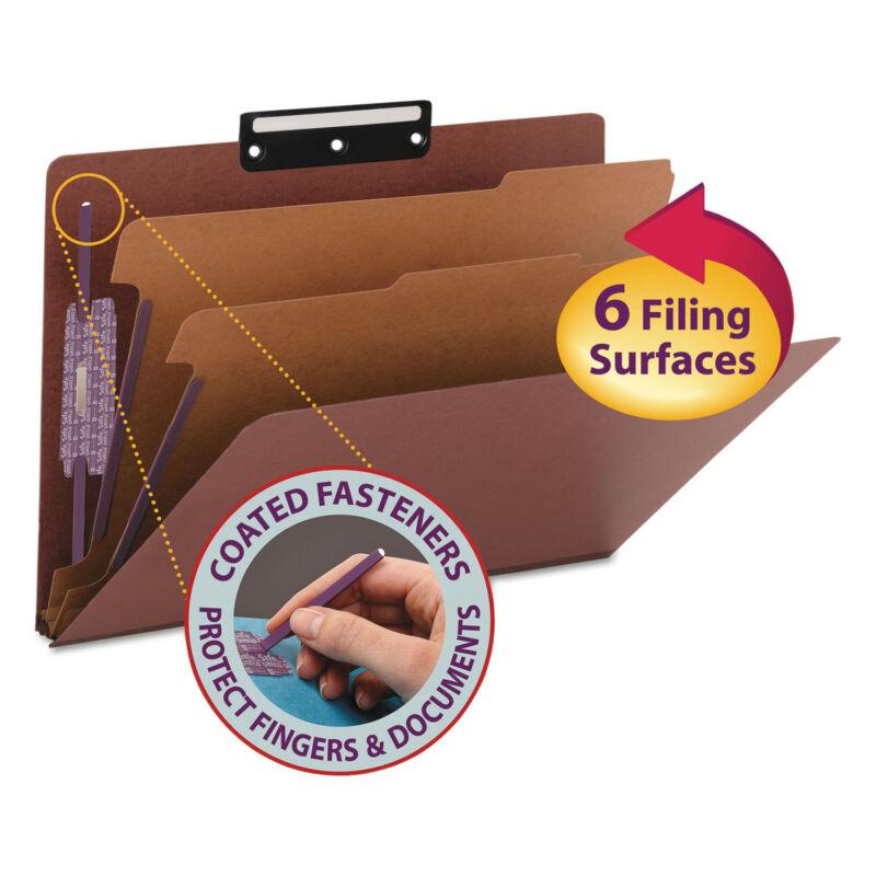 Smead Pressboard Classification Folders Metal Tab Legal Six-Section Red 10/Box