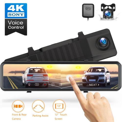 "TOGUARD Dual Dash Cam 4K GPS 12"" Mirror Backup Camera Car Rear View DVR Recorder"