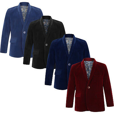 Velvet Blazer Boys Kids Jacket Black/Royal/Burgundy/Navy 1-15 Years Paisley - Velvet Blazer For Boys