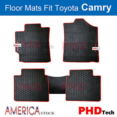 Premium Quality  All-Weather Rubber Floor Mats for Toyota Camry Red Trim - Red Floor