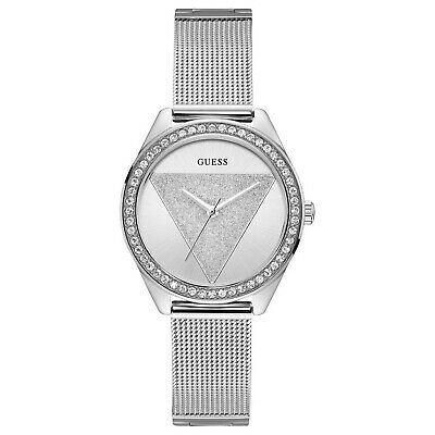 Guess Women's Classic Tri Glitz Stainless Steel Mesh Bracelet Watch W1142L1