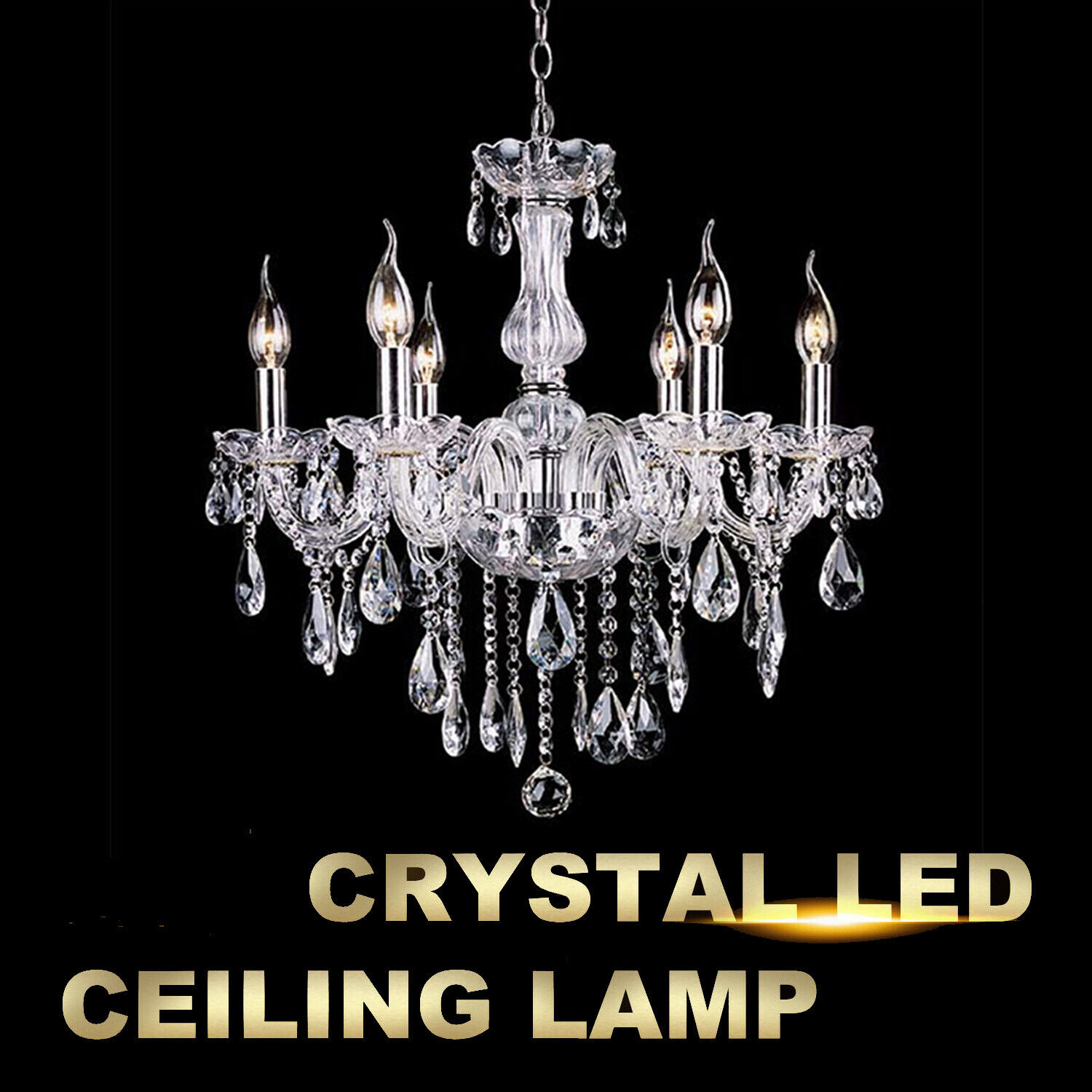 Crystal Glass Chandelier 6 Lights Clear Pendant Ceiling Ligh