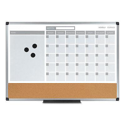Mastervision 3-in-1 Calendar Planner Dry Erase Board 36 X 24 Silver Frame