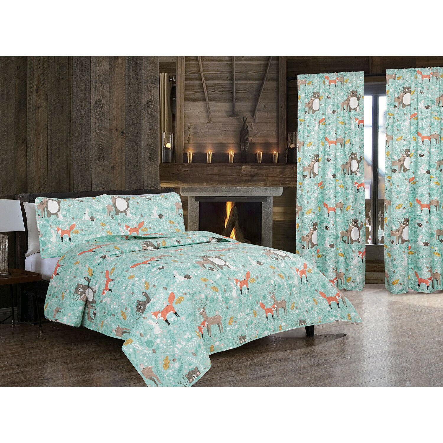 Twin or Full/Queen Woodland Creatures Quilt Set or Window Curtains, Teal Brown Bedding