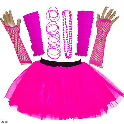 NEW GIRLS HEN PARTY 80'S FANCY DRESS ACCESSORIES NEON TUTU SKIRT SET BANGLE PINK
