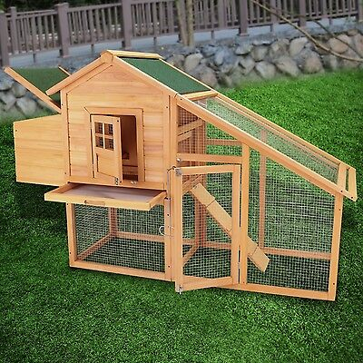 "75"" Wooden Chicken Coop Hen House Poultry Cage Rabbit Hutch Backyard w/Nest Box"