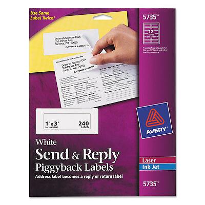 Avery Send Reply Piggyback Inkjetlaser Printer Labels 1 58 X 4 White 240