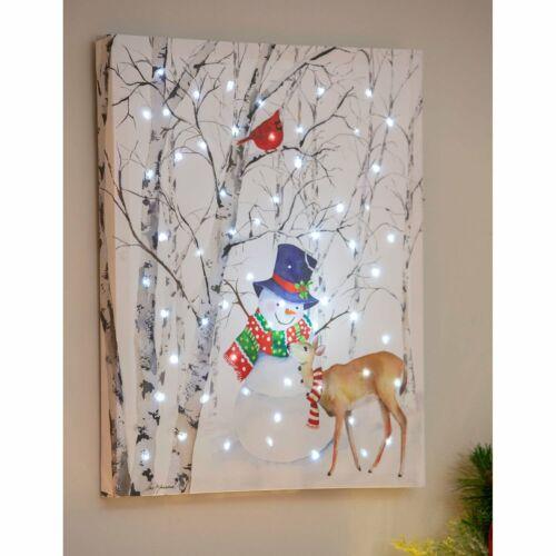Snowman Deer Wall Canvas LED Twinkling Lights 16 x 20