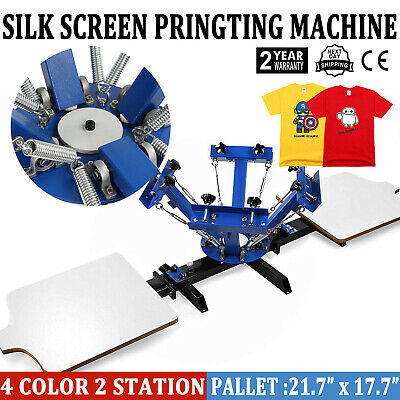 4 Color 2 Station Silk Screen Printing Machine T-shirt Press Kit Equipment Diy