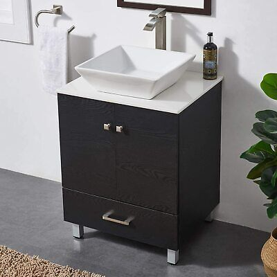 "24"" Bathroom Vanity set & Top Ceramic Vessel Sink Washroom Cabinet Combo"
