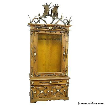 fantastic oak wood gun cabinet with antler decoration ca. 1900 for sale  Shipping to United States