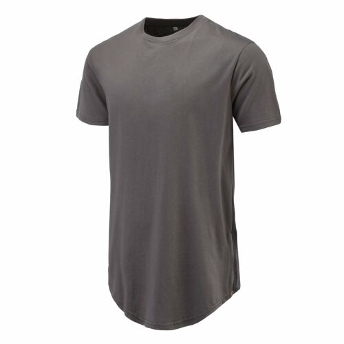 bfb6f548 Curve Hem Men T-Shirt Side With Zipper Short Sleeve Men Long line  Streetwear Top