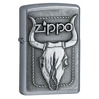 Zippo Windproof Sreet Chrome Lighter With Bull Skull Emblem, 20286 New In Box (Zippo Lighter Bull)