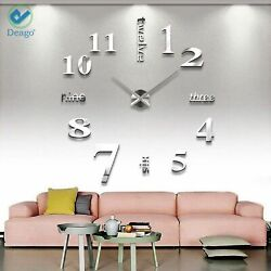 Large DIY Wall Clock Modern 3D with Mirror Numbers Stickers Living Room Silver