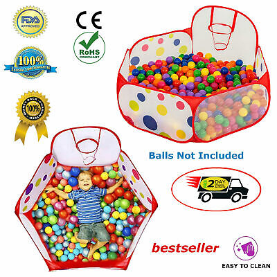 Baby Basketball Hoop Ball Pit Tent Kid Educational Easy Folding Children Playpen](Ballpit Balls)