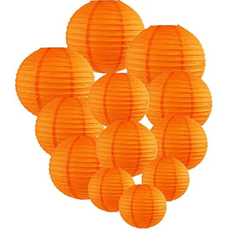 Chinese Paper Lanterns 12pcs  (Color: Orange)