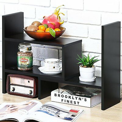 Adjustable Desk Bookshelf Wood Modern Desktop Organizer Drawer Office Supplies