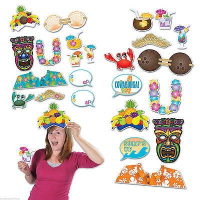 LUAU PHOTO PROPS FUN SIGNS CUTOUTS HAWAIIAN POOL BEACH PARTY DECORATIONS  - Hawaiian Photo Cutouts