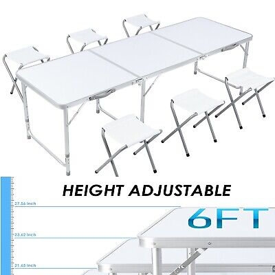 6 Camping Folding Table 6 Chairs Aluminium Alloy Indoor Outdoor Picnic Party