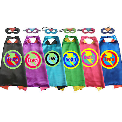 Kids Superhero Capes Personalized Name Lightening bolt costume girls boy cosplay - Personalized Superhero Cape