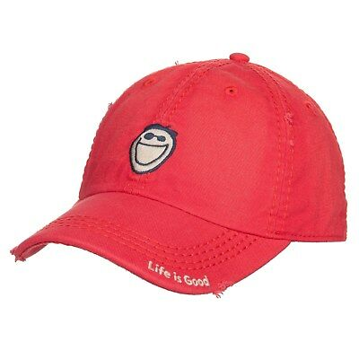 LIFE IS GOOD Sunwashed Chill Cap JAKE FACE Baseball Hat AMERICANA RED NWT!