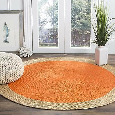 Handmade Reversible Round Jute Rug Orange Braided Rag Rug Modern Area Floor Mats