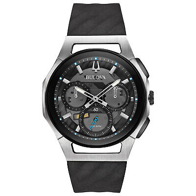 Bulova CURV Men's Quartz Gray Dial Silicone Black Band 44mm Watch 98A161