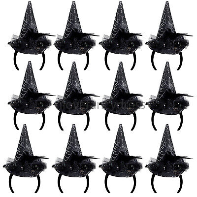 12 X MINI WITCH HAT ON HEADBAND HALLOWEEN FANCY DRESS JOBLOT BULK GROUP COSTUME
