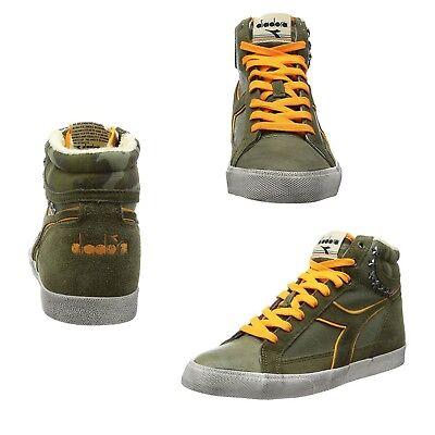 Camo High Top Sneakers (Diadora Condor S Camo High Top Sneakers Mens 9 Gray/Orange -)