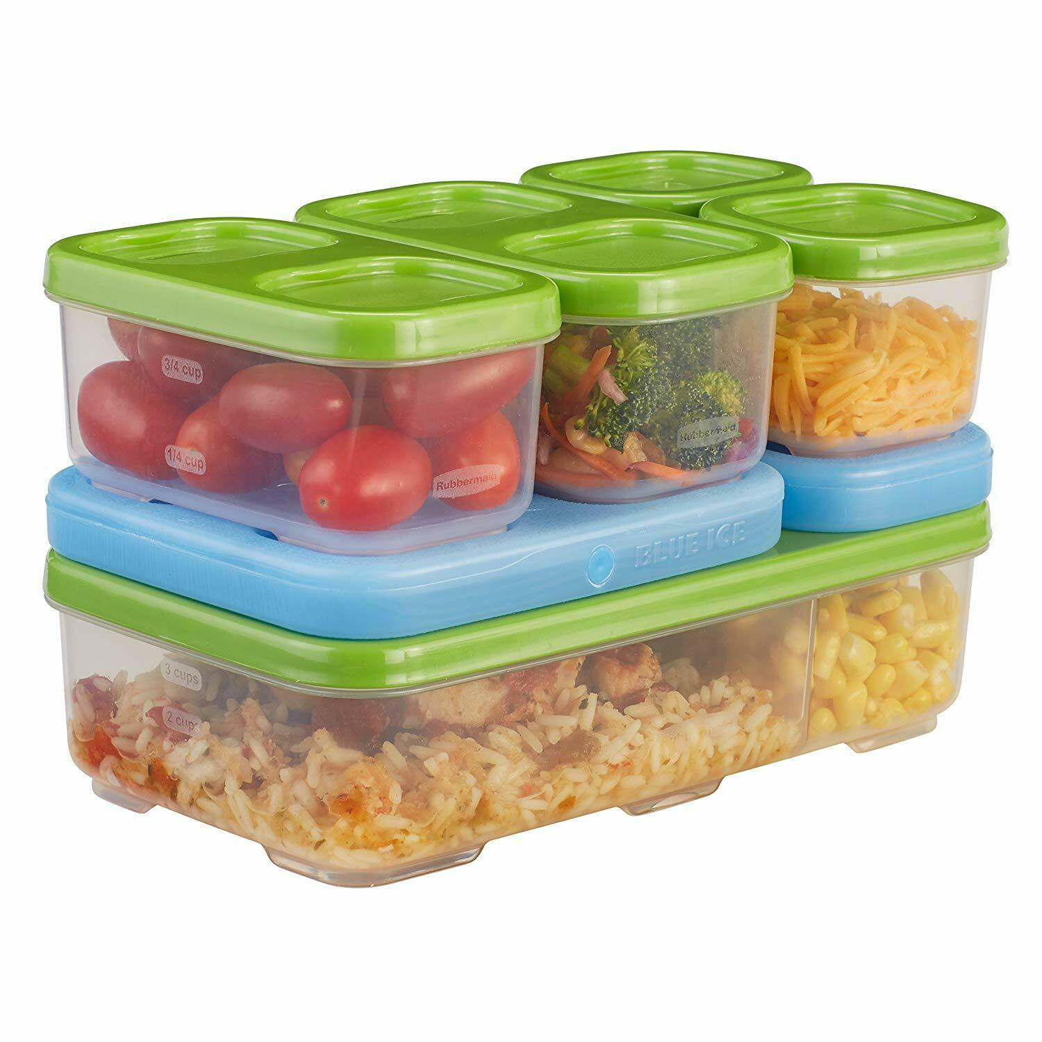 Rubbermaid Lunch Blox Entrée Kit Green Blue Ice Food Organized Compact BPA Free Home & Garden