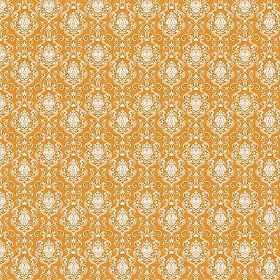 Happy Halloween ORANGE Damask by Patrick Lose 100% cotton fabric by the yard - Happy Halloween Fabric