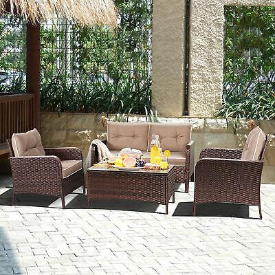 4 PCS Outdoor Patio Rattan Wicker Furniture Set Sofa