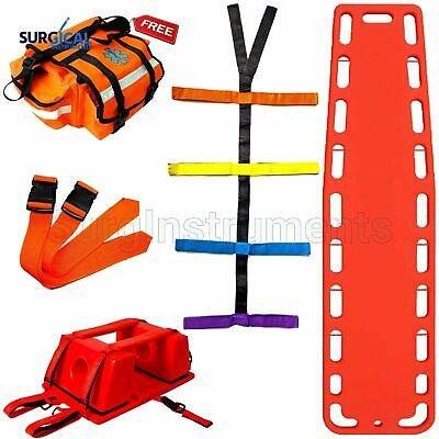 Orange Emt Backboard Spine Board Stretcher Immobilization Kit - Free Trauma Bag