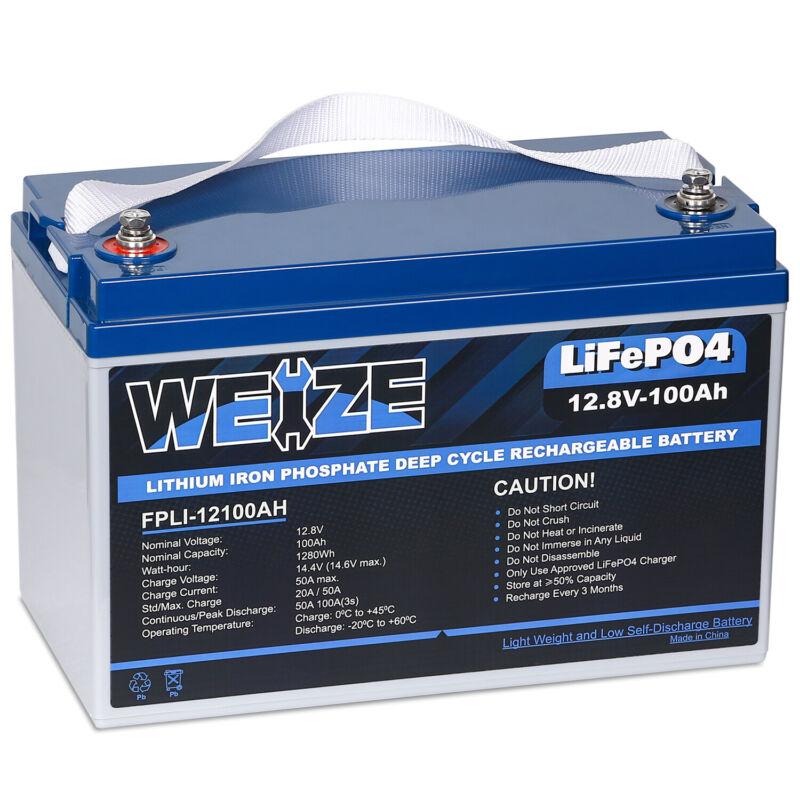 12V 100AH LiFePO4 Deep Cycle Lithium Battery for RV Marine Off-Grid Solar System