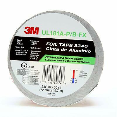 3m Aluminum Foil Tape 3340 2.5 X 50 Yd 4.0 Mil Silver Hvac Sealing And