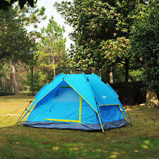 3-4 Person Double Layer Family Camping Hiking Instant Tent Auto Blue