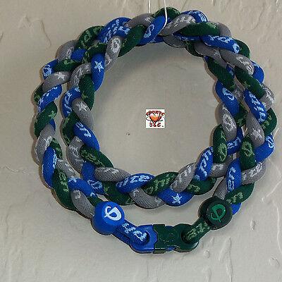 - Phiten Titanium Triple Braid Necklace: Forest Green/Royal Blue/Gray Custom