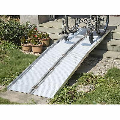 HOMCOM 8' Aluminum Wheelchair Ramp Fold Handicap Scooter Ramp Portable Mobility