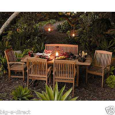 (Outdoor Patio Extendable Teak Wood Dining Set - 6 pc Table Bench Chair Furniture)
