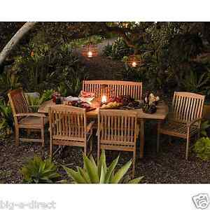 Outdoor Patio Extendable Teak Wood Dining Set - 6 pc Table Bench Chair