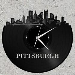 Pittsburgh Vinyl Wall Art Clock Skyline Cityscape Unique Gift Home Bedroom Decor