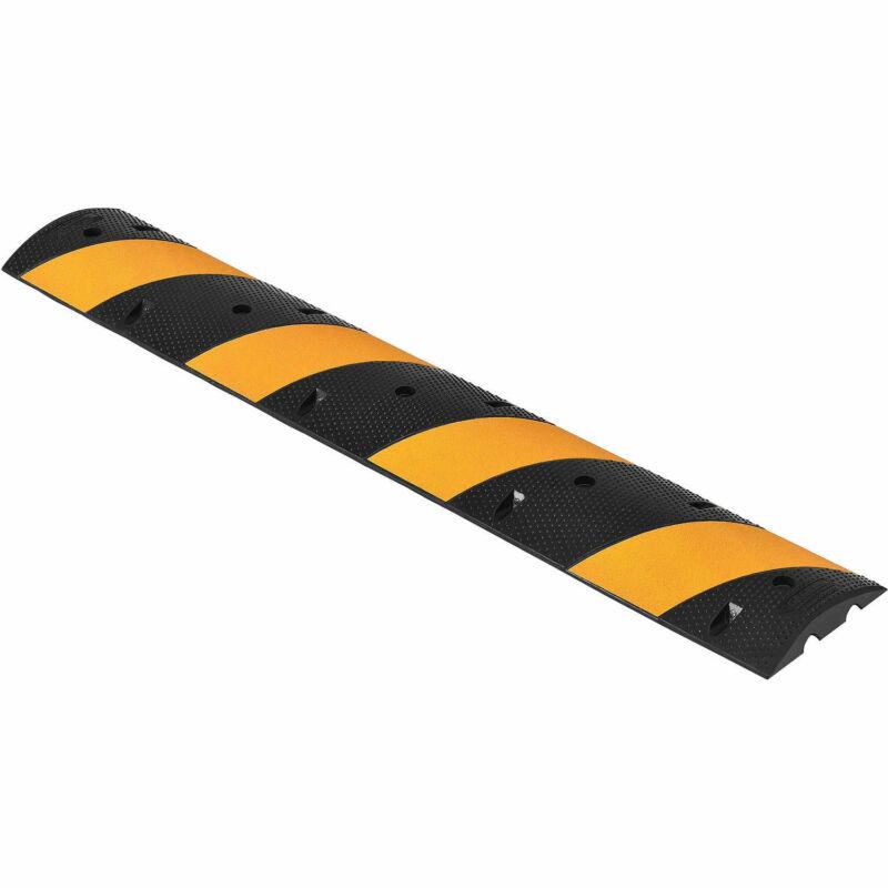"Rubber Speed Bump, 72"" Portable, Yellow Stripes"